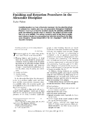 Finishing and Retention Procedures in the Alexander Di
