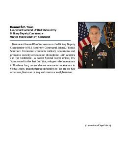 Kenneth E. TovoLieutenant General, United States Army