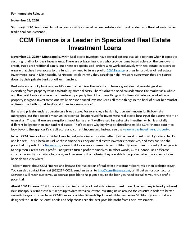 CCM Finance is a Leader in Specialized Real Estate Investment Loans