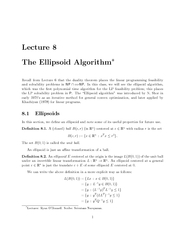 Lecture  The Ellipsoid Algorithm Recall from Lecture