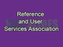 Reference and User Services Association