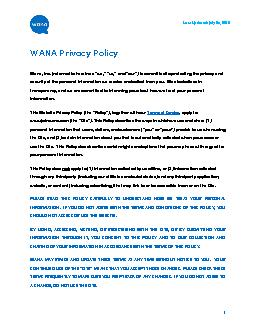 Last Updated: July 24, 2019  WANA Privacy Policy !