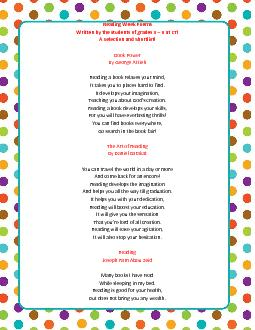Reading Week PoemsWritten by the students of grades 3 at CTIA Selectio