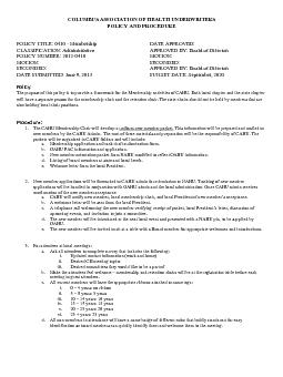 COLUMBUS ASSOCIATION OF HEALTH UNDERWRITERS POLICY AND PROCEDURE POLIC