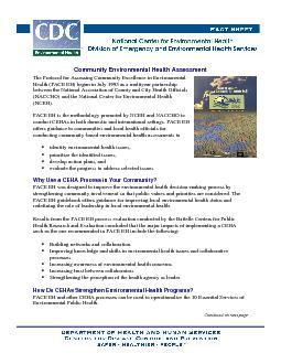 Community Environmental Health Assessment, Continued