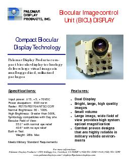 Display Technologypact biocular display technology Specifications: ...