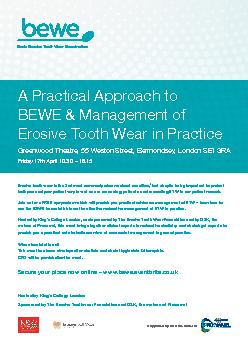 A Practical Approach toBEWE & Management ofErosive Tooth Wear in Pract