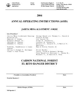 ANNUAL OPERATING INSTRUCTIONS (AOIS)