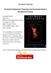 Jonathan Sawday The Body Emblazoned Dissection and the