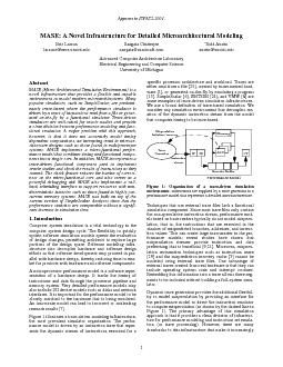 Appears in ISPASS-2001.MASE: A Novel Infrastructure for Detailed Micro