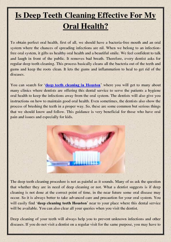 Is Deep Teeth Cleaning Effective For My Oral Health?
