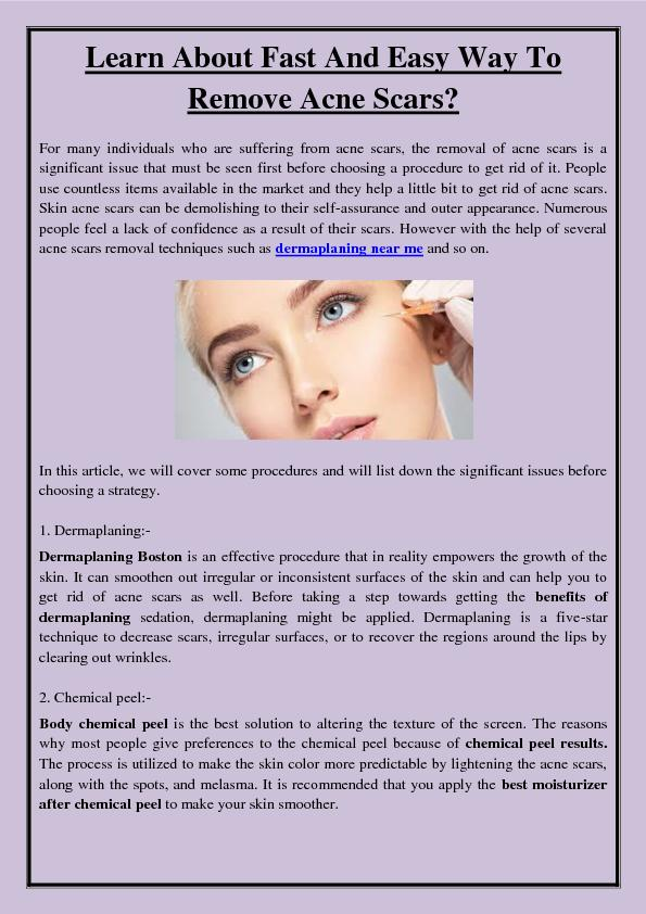 Learn About Fast And Easy Way To Remove Acne Scars?