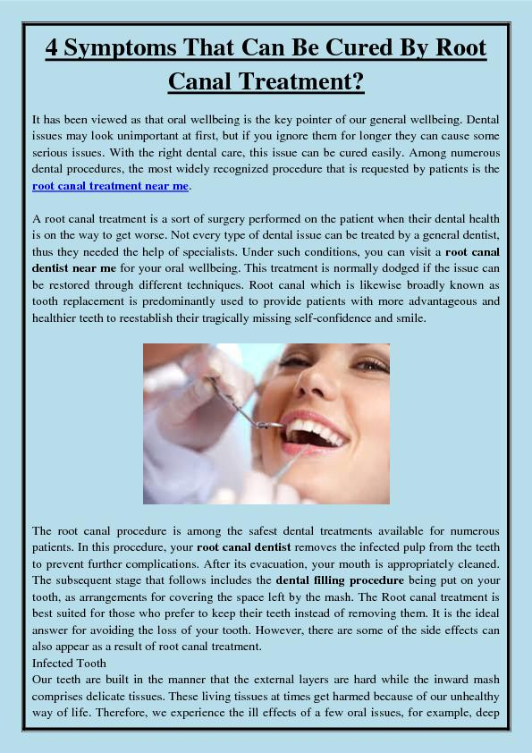 4 Symptoms That Can Be Cured By Root Canal Treatment?