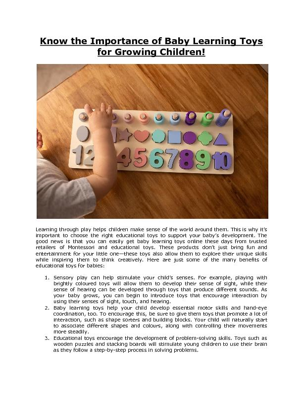 Know the Importance of Baby Learning Toys for Growing Children