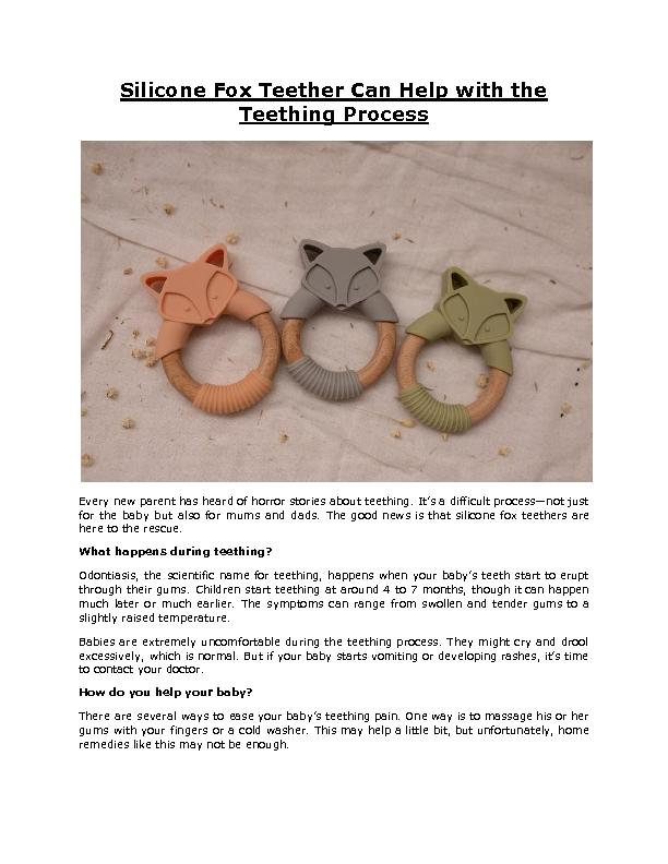 Silicone Fox Teether Can Help with the Teething Process