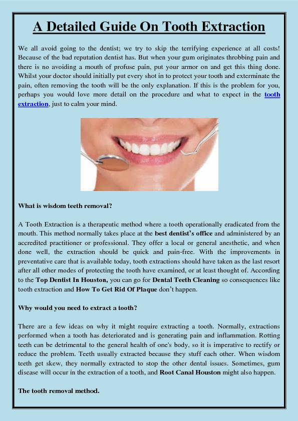 A Detailed Guide On Tooth Extraction