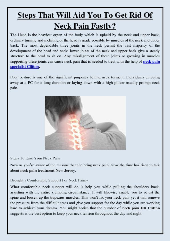 Steps That Will Aid You To Get Rid Of Neck Pain Fastly?