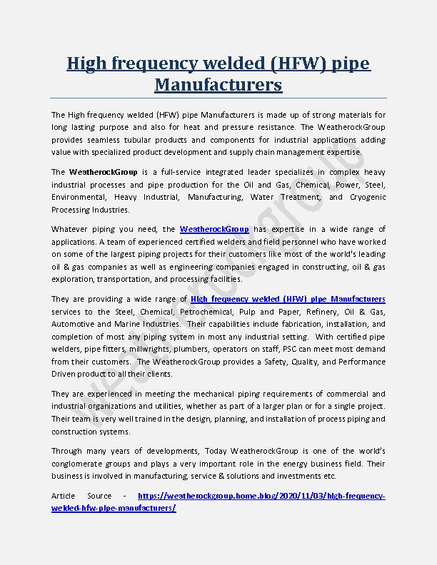 High frequency welded (HFW) pipe Manufacturers