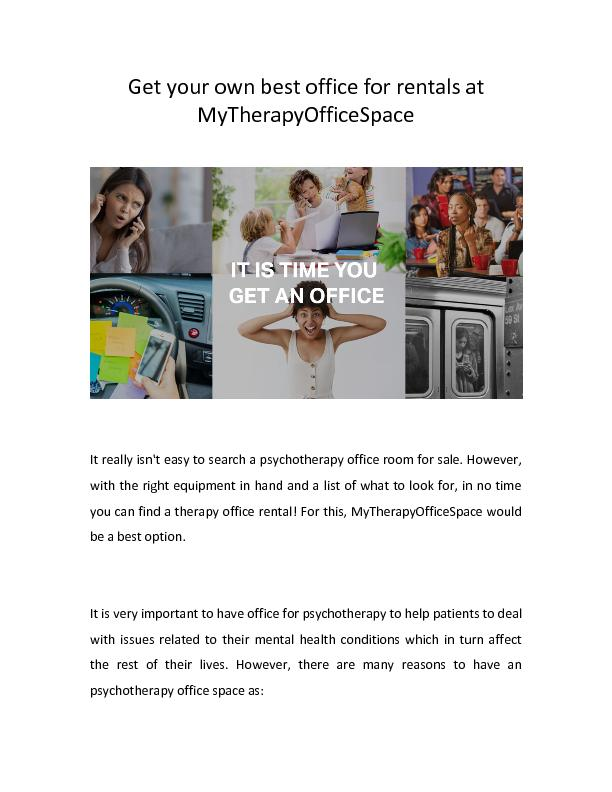 Get your own best office for rentals at MyTherapyOfficeSpace