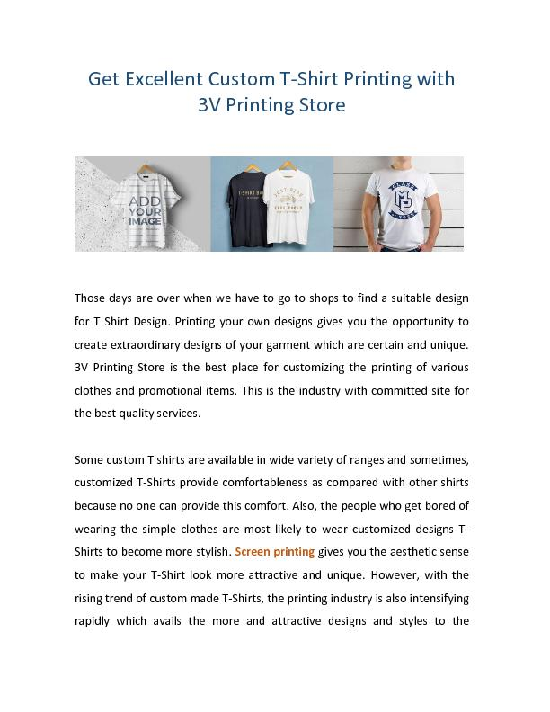 Get Excellent Custom T-Shirt Printing with 3V Printing Store