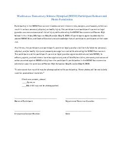 Washtenaw Elementary Science Olympiad (WESO) Participant Release and
