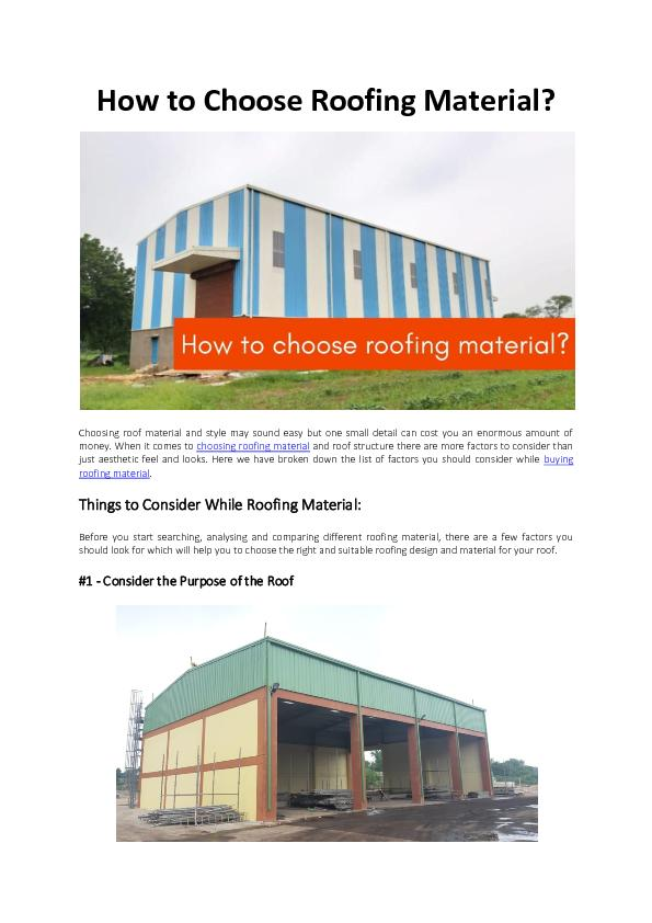 How to Choose Roofing Material - Bansal Roofing Products Limited