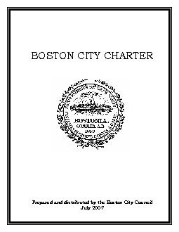 BOSTON CITY CHARTERPrepared and distributed by the Boston City Council