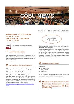 Issue No 10/2008 COMMITTEE ON BUDGETS Wednesday, 25 June 2008 Thursday