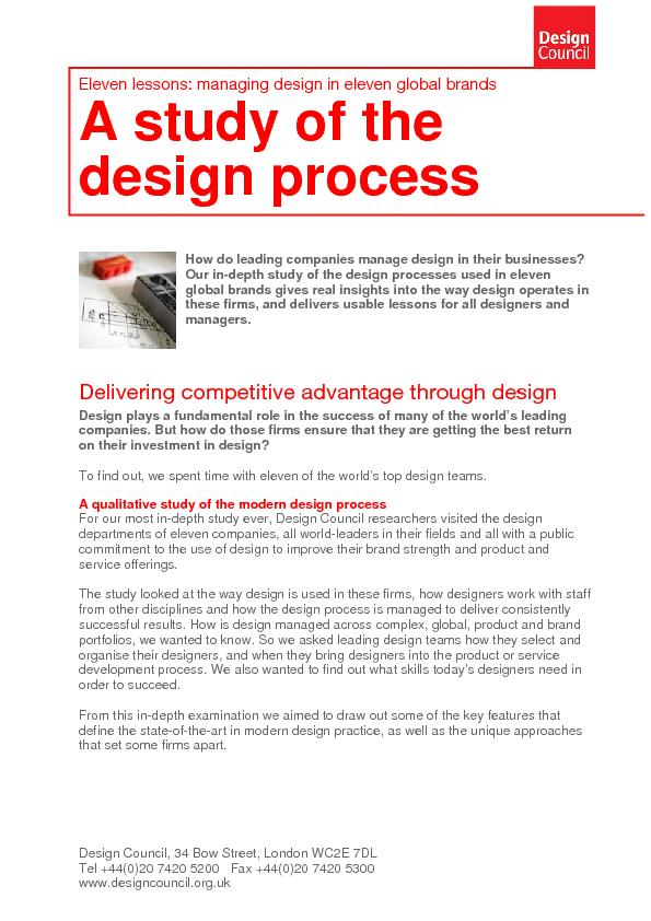 A study of the design process - Eleven lessons: managing design in eleven global brands