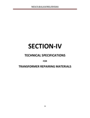 Technical specification for transformer repairing materials