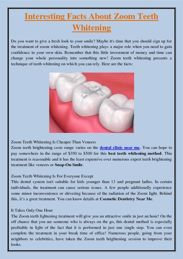 Interesting Facts About Zoom Teeth Whitening