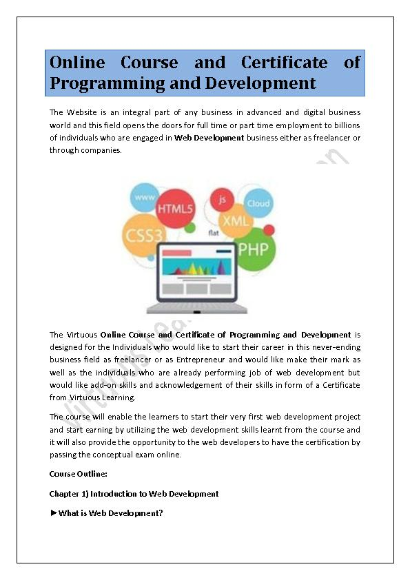 Online Course and Certificate of Programming and Development