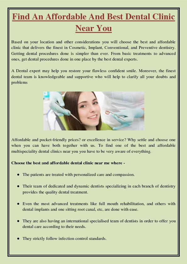 Find An Affordable And Best Dental Clinic Near You