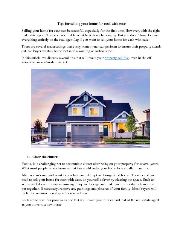 Tips for selling your home for cash with ease