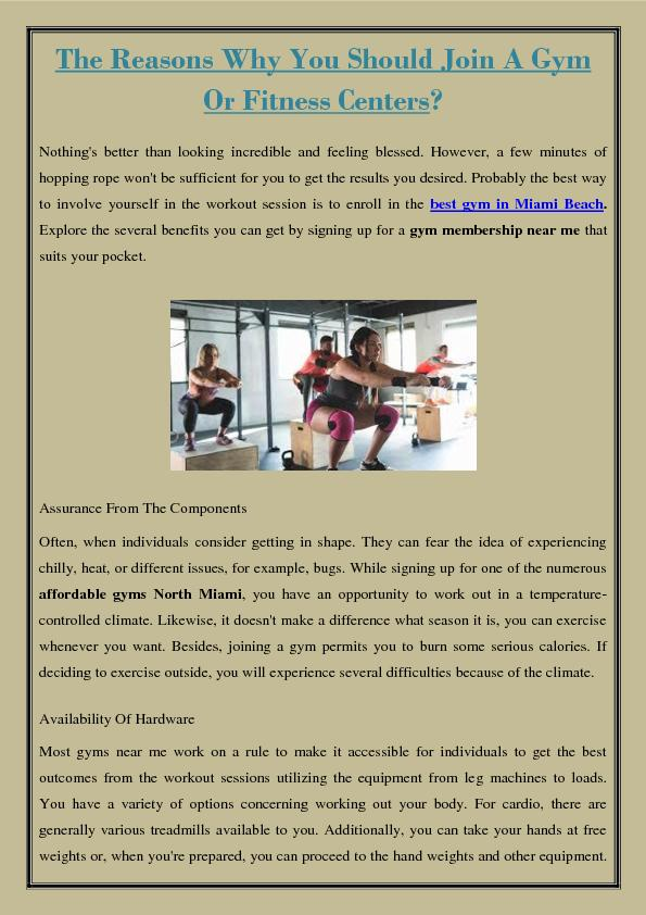The Reasons Why You Should Join A Gym Or Fitness Centers?