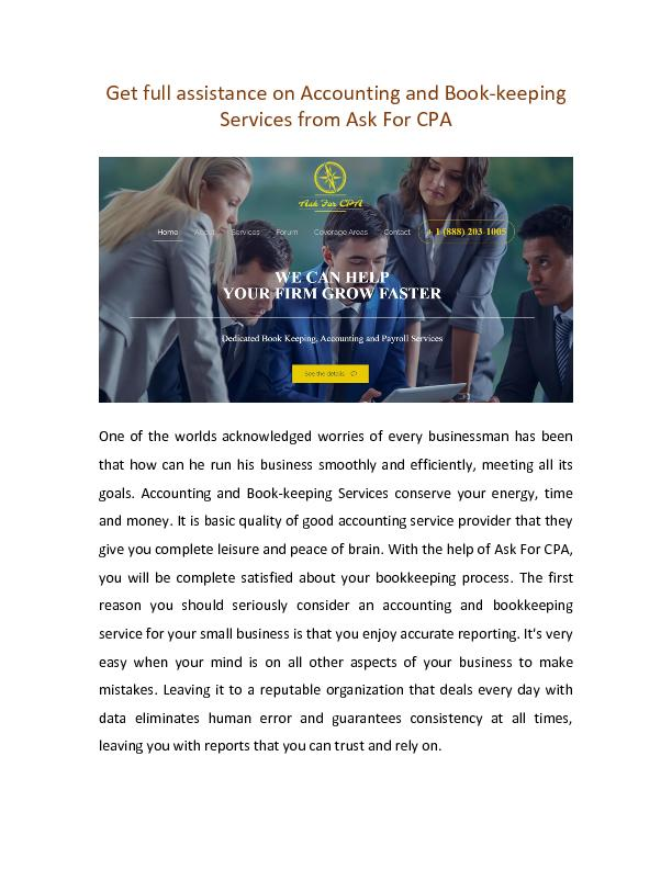 Get full assistance on Accounting and Book-keeping Services from Ask For CPA