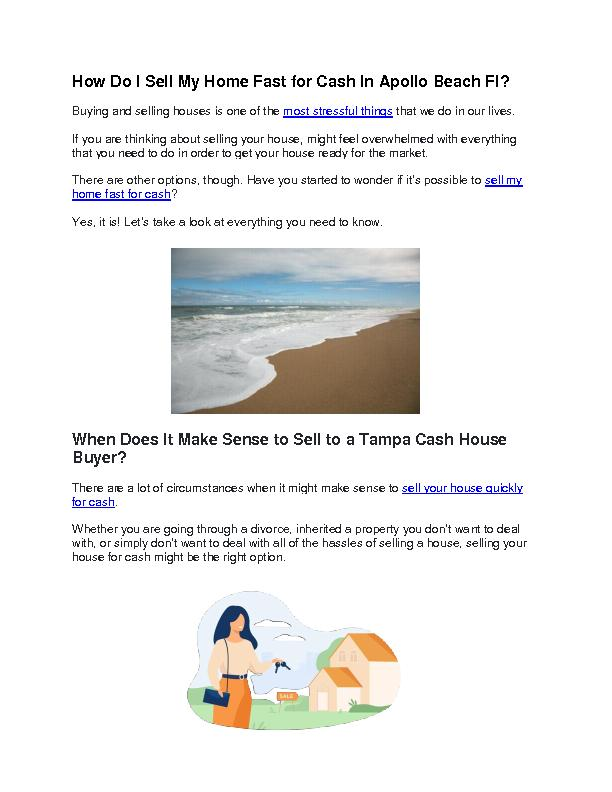 How Do I Sell My Home Fast for Cash In Apollo Beach Fl?