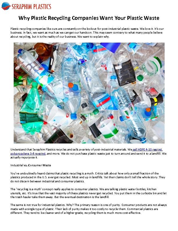 Why Plastic Recycling Companies Want Your Plastic Waste