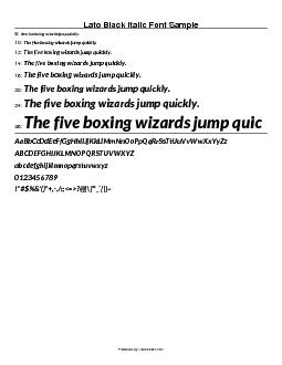 Lato Black Italic Font Sample  8: The five boxing wizards jump quickly