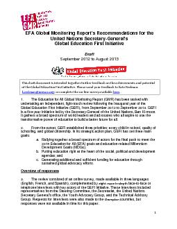 EFA Global Monitoring Report's Recommendations for the United Nat