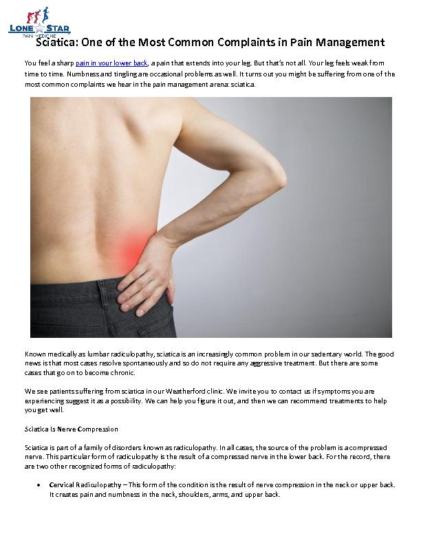 Sciatica: One of the Most Common Complaints in Pain Management