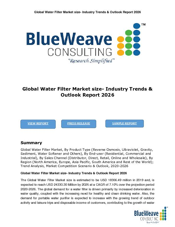 Global Water Filter Market size- Industry Trends & Outlook Report 2026