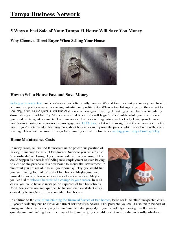 5 Ways a Fast Sale of Your Tampa Fl House Will Save You Money