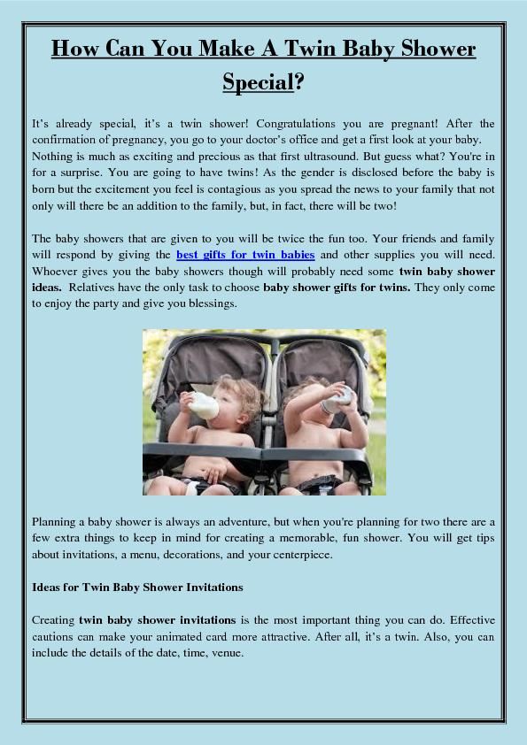 How Can You Make A Twin Baby Shower Special?