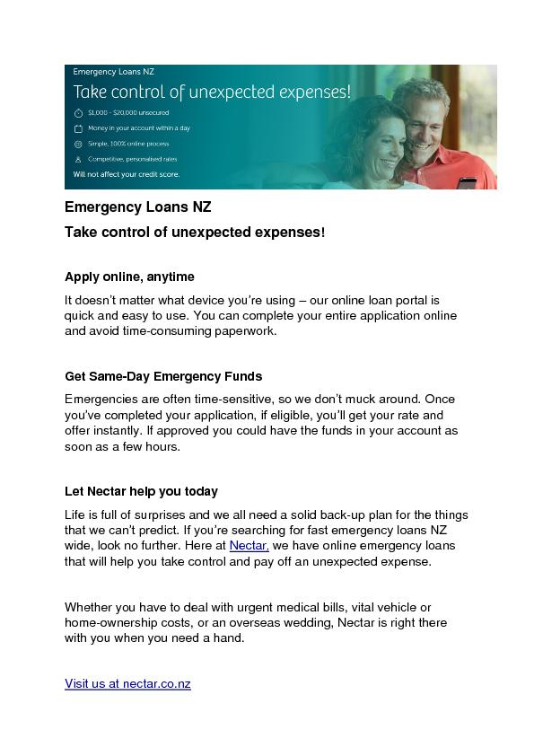 Emergency Loans NZ Take control of unexpected expenses!