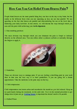 How Can You Get Relief From Braces Pain?