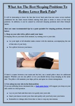 What Are The Best Sleeping Positions To Reduce Lower Back Pain?