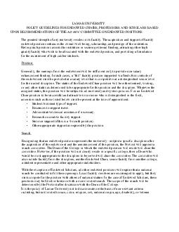 LAMAR UNIVERSITY POLICY GUIDELINES FOR ENDOWED CHAIRS
