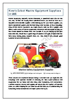How to Select Marine Equipment Suppliers in UAE
