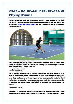 What is the Mental Health Benefits of Playing Tennis?